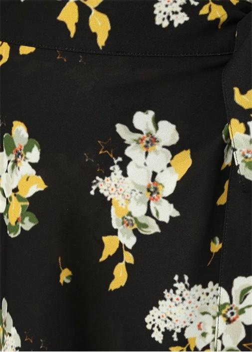 Vera Siyah Çiçekli Midi Anvelop Etek