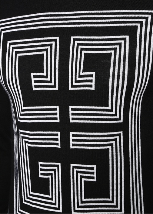 Siyah Bisiklet Yaka Logolu Yün Triko