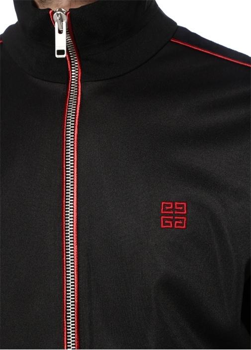 Siyah Dik Yaka Logo Jakarlı Şeritli Sweatshirt