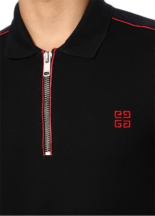 Siyah Polo Yaka Fermuarlı Kolu Şeritli T-shirt