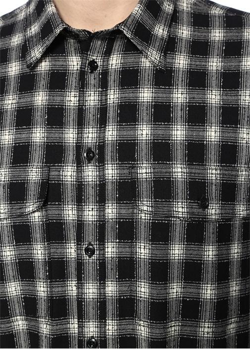 Siyah Beyaz İngiliz Yaka Ekoseli Gömlek
