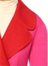 Fuşya Kırmızı Kelebek Yaka Kruvaze Yün Palto