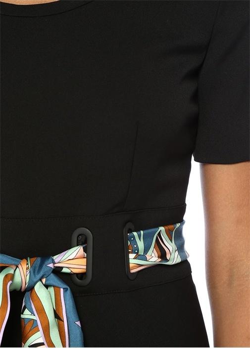 Siyah Beli Motifli Kuşaklı Midi Krep Elbise