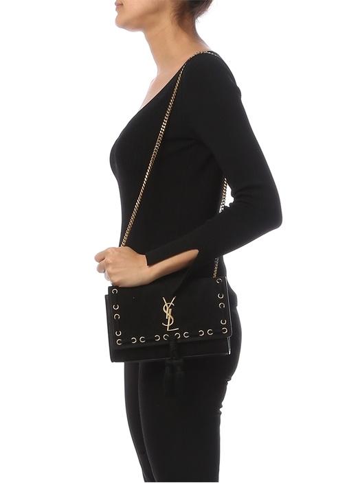 Siyah Logolu İp Detaylı Kadın Çanta