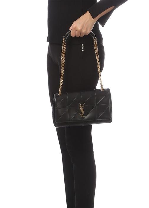Siyah Gold Logolu Dikiş Detaylı Kadın Deri Çanta