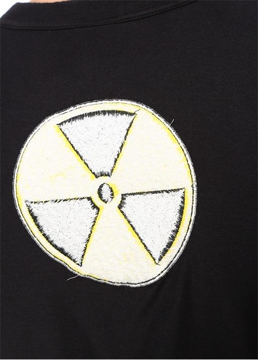 Siyah Bisiklet Yaka Logo Jakarlı Basic T-shirt