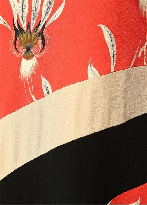 Dessia Kırmızı Çiçekli Uzun Kol Midi Elbise