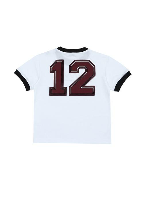 Beyaz Biisklet Yaka Ribli Erkek Çocuk T-shirt