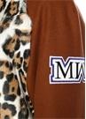 Kahverengi Dik Yaka Leopar Desenli Palto