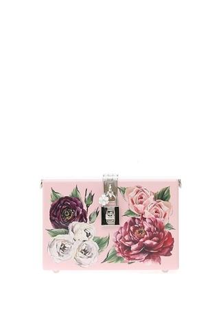 Roseto Pembe Çiçekli Kilitli Kadın Abiye Çanta