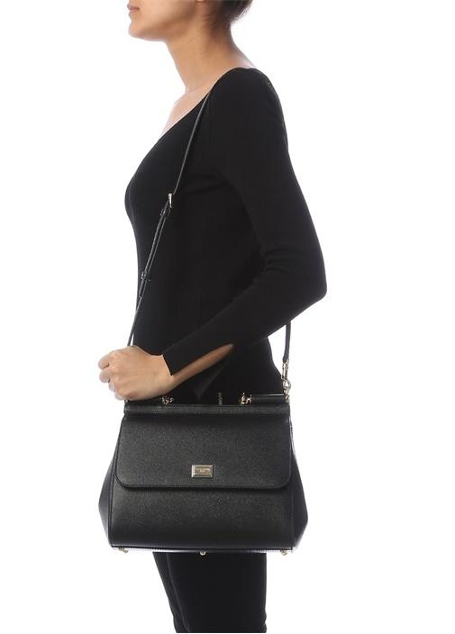 Sicily Siyah Logolu Kadın Deri Çanta
