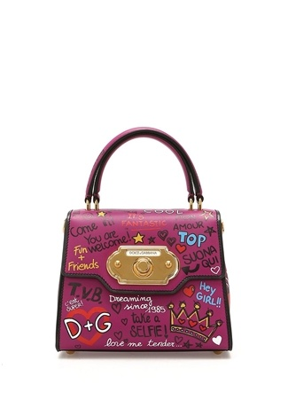 Dolce&Gabbana Kadın Welcome Mor Yazı Baskılı Logolu Deri Çanta Ürün Resmi