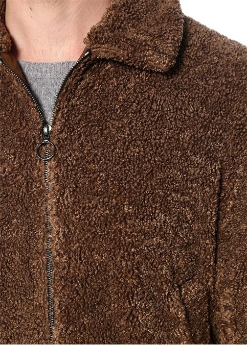 Capospalla Kahverengi Polo Yaka Peluş Mont