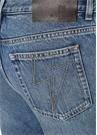 Mavi Yüksek Bel Düğmeli Bol Paça Jean Pantolon