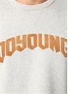 Gri Melanj Yazı Patchli Düşük Omuzlu Sweatshirt