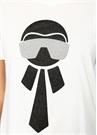 Beyaz Simli Figür Baskılı Yırtmaçlı T-shirt