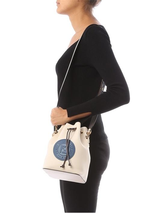Mon Tresor Bej Logolu Büzgülü Kadın Deri Çanta