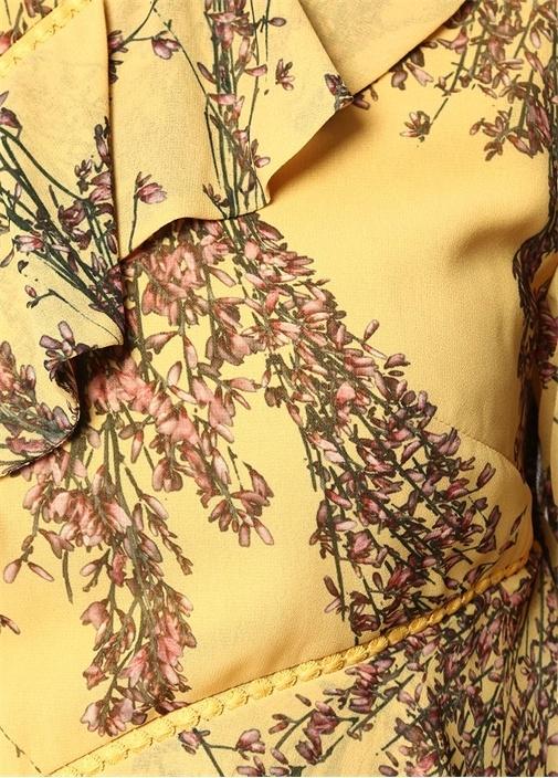 Light Up Sarı Tek Omuzlu Çiçek Desenli Midi Elbise