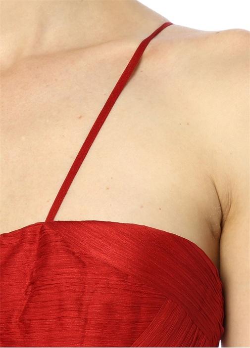 Allar Kırmızı Transparan Detaylı Maksi İpek Elbise