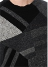 Siyah Gri Bisiklet Yaka Colorblocked Nopeli Triko