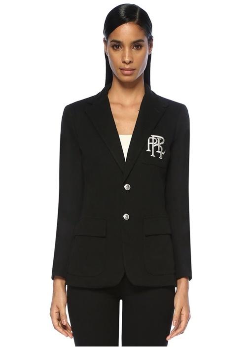 Siyah Kelebek Yaka Logo Nakışlı Blazer Ceket