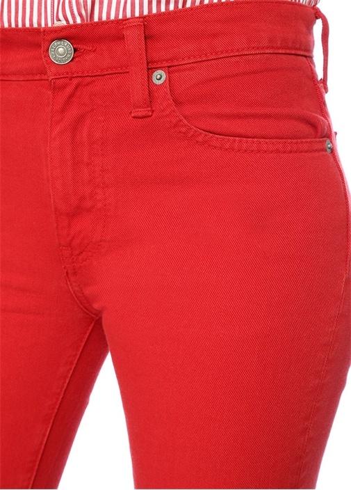 Christie Kırmızı Kick Flare Crop Jean Pantolon