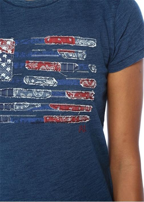 Lacivert Bisiklet Yaka Patchworklu T-shirt