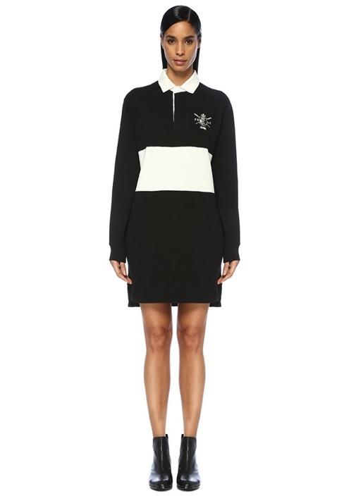 Siyah Beyaz Şeritli Mini Gömlek Elbise
