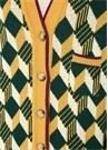 Yeşil Sarı Baklava Dilimi Desenli Yün Hırka