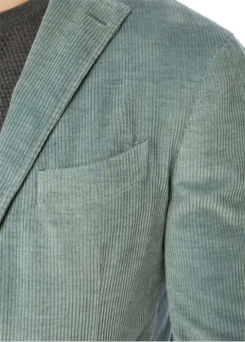 Mavi Kelebek Yaka Kadife Ceket