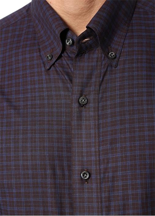 Lacivert Bordo Düğmeli Yaka Kareli Gömlek