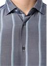 Gri Mavi İngiliz Yaka Çizgili Gömlek