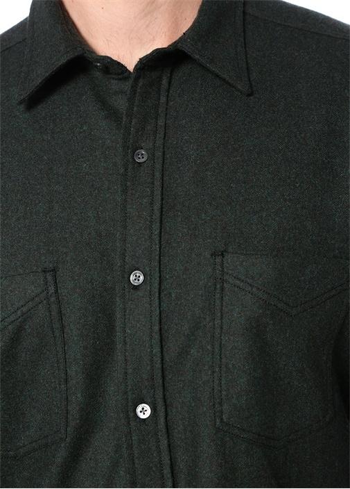 Haki Polo Yaka Dokulu Yün Gömlek