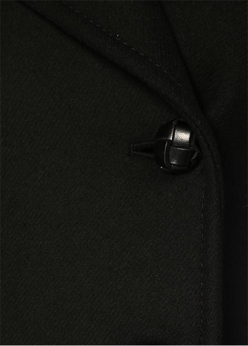 Gloria Siyah Kolu Şeritli Kruvaze Yün Palto