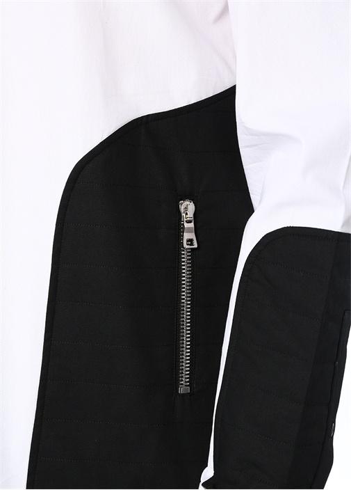 Siyah Beyaz İngiliz Yaka Fermuarlı Gömlek