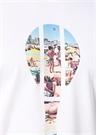 Beyaz Raket Plaj Baskılı Basic T-shirt