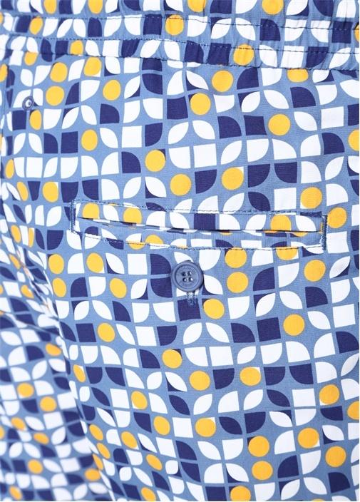 Mavi Geometrik Desenli Cepli Mayo