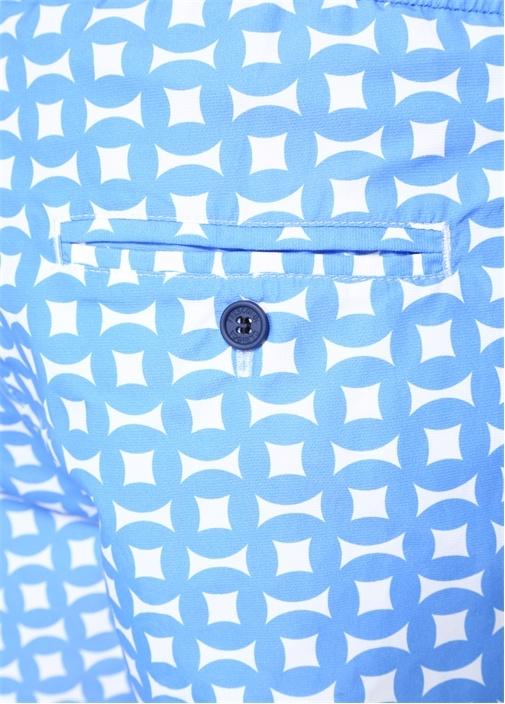 Mavi Beyaz Geometrik Desenli Cepli Mayo