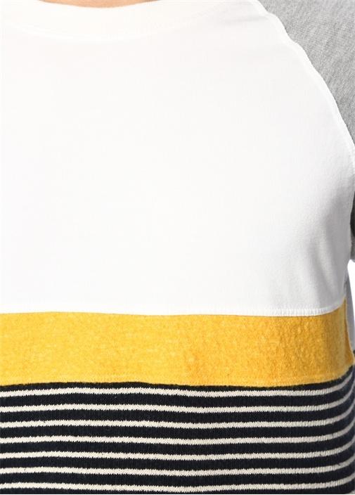 Garni Detaylı Çizgili Basic Sweatshirt