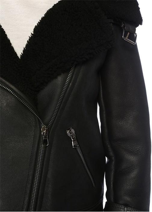 New Perfecto Siyah Yaka Detaylı Deri Ceket