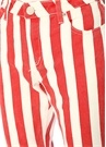 Flare Fit Kırmızı Beyaz Yüksek Bel JeanPantolon