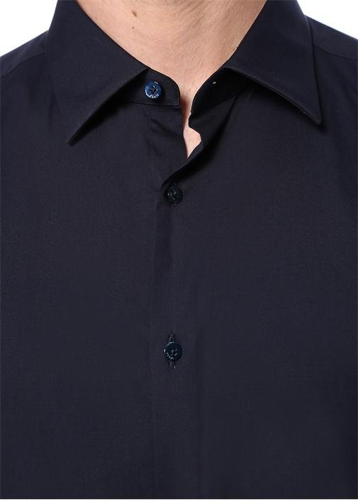 Lacivert İngiliz Yaka Düğme Kapatmalı Gömlek