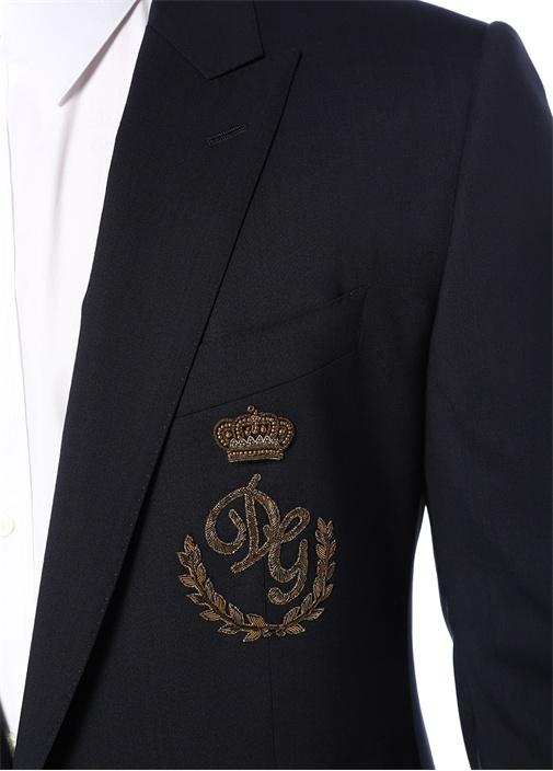 Drop 7 Lacivert Logo Nakışlı Yün Ceket
