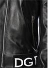 Siyah Dik Yaka Logolu Deri Ceket