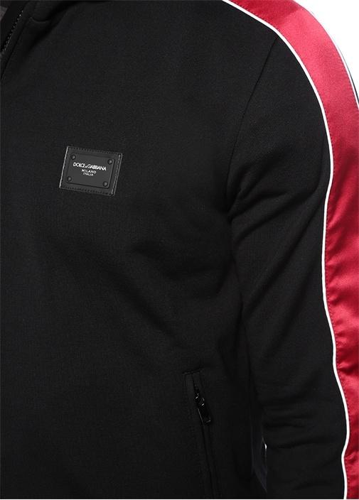 Siyah Kapüşonlu Garni Detaylı Sweatshirt