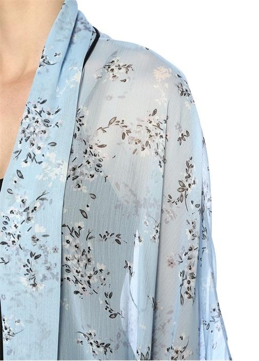 Mavi Çiçek Desenli Kimono