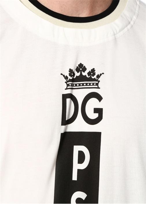Beyaz Logo Baskılı Yaka Detaylı T-shirt