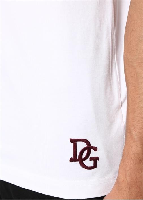 Beyaz Bisiklet Yaka Kolsuz T-shirt