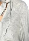 Duval Silver V Yaka Yarasa Kol Maksi İpek Elbise