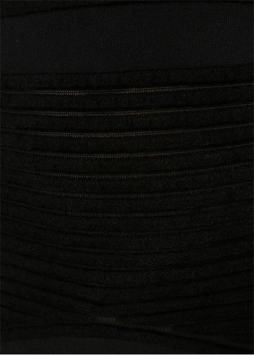Ripple Giselle Siyah Omzu Açık Midi Triko Elbise